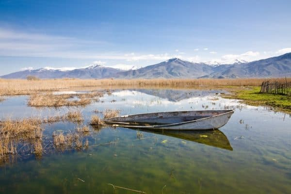 the small prespa lake or limni mikra prespa in macedonia in northern greece