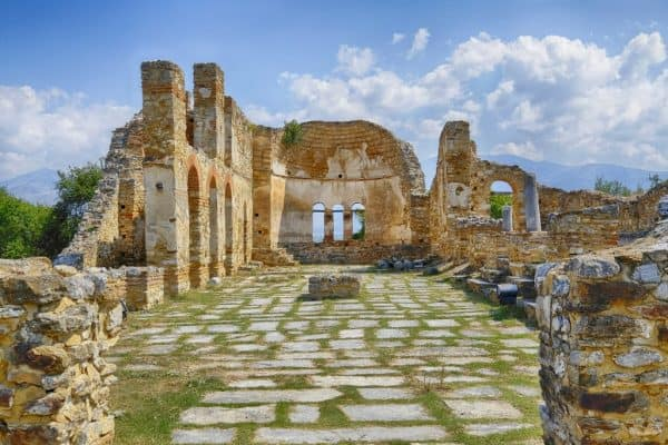 Saint Achilleios old Byzantine church ruins at lake Prespa in Greece.